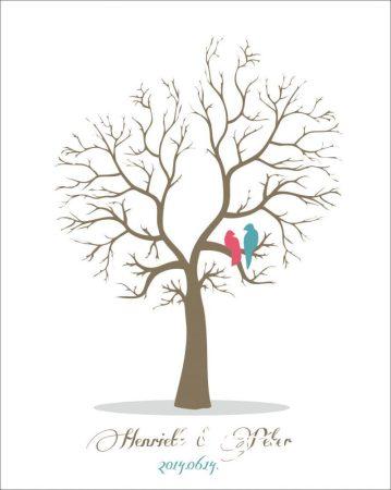 Esküvői vendégkönyv, ujjlenyomatfa