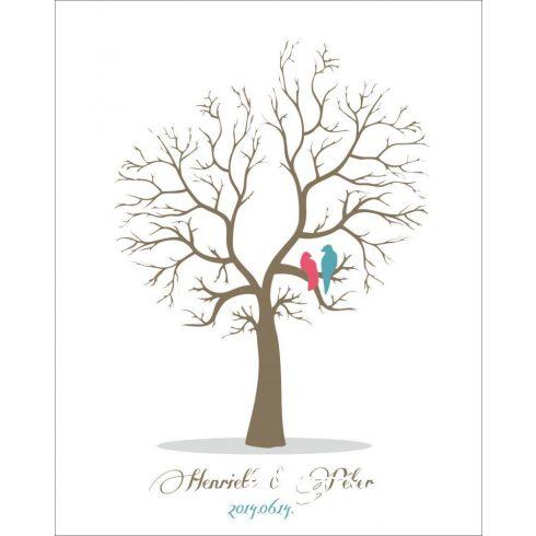 Esküvői vendégkönyv, ujjlenyomatfa madarakkal