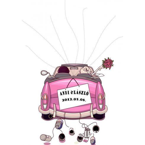 Esküvői vendégkönyv,  autós ujjlenyomatfa - több színben