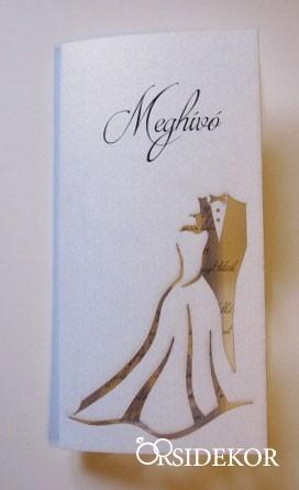 Áttört mintás esküvői meghívó menyasszony-vőlegény kivágással