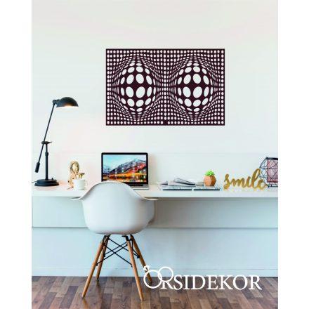 Geometrikus 3 dimenziós körök falikép fából