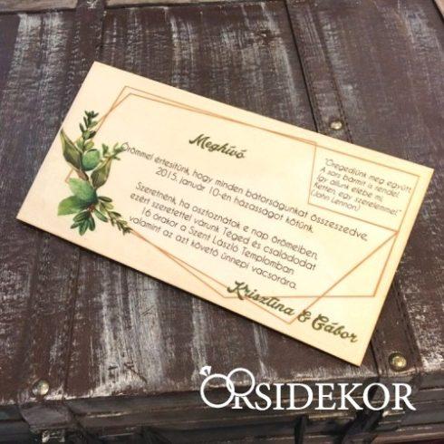 Esküvői meghívó fából