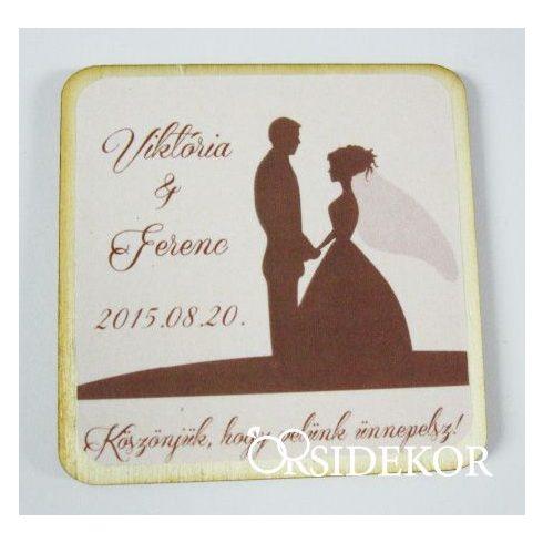 Köszönetajándék esküvői fényképes hűtőmágnes, 5x5cm