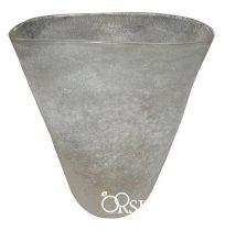 Ovális alakú, tejüveg váza