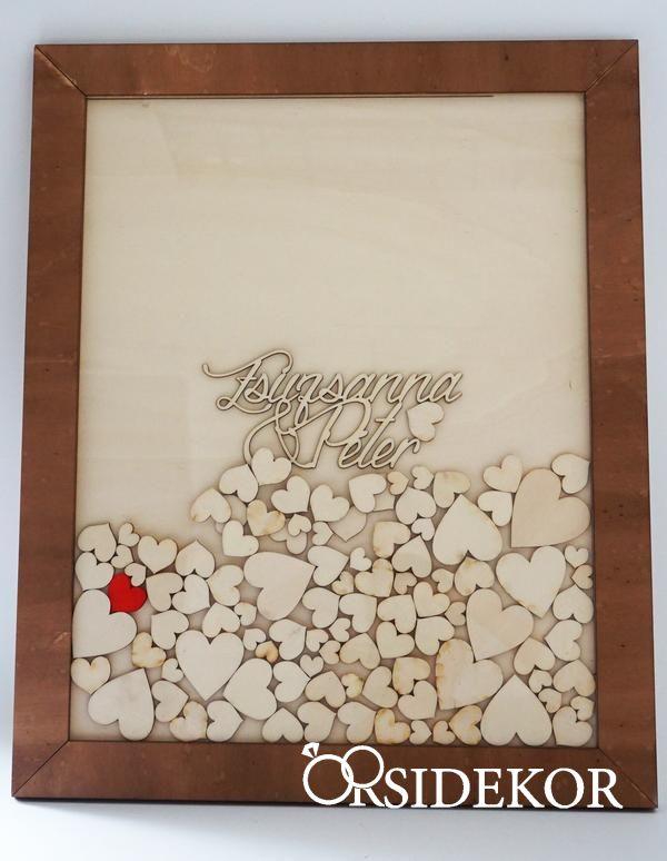 42f8b52b0d Keretes vendégkönyv bedobálható szívekkel - Orsi Dekor - Esküvői ...