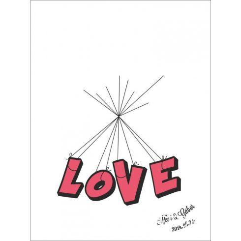 Esküvői vendégkönyv, LOVE ujjlenyomatfa