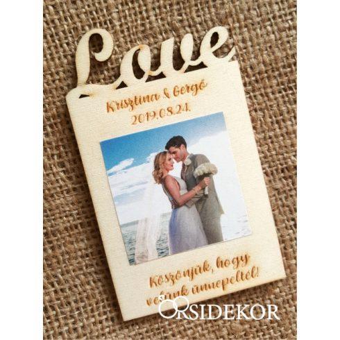 Fényképes fa hűtőmágnes, Love
