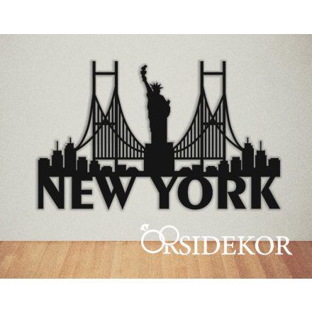 New York falikép fából