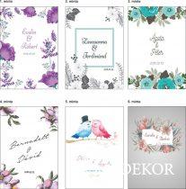 Esküvői vendégkönyv, virágmintás