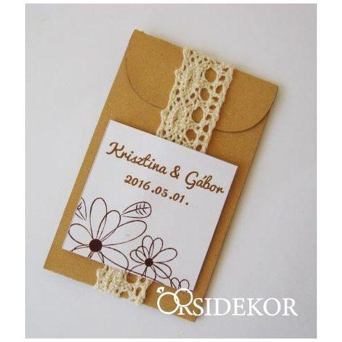 Virágmag papírtasakban egyedi címkével