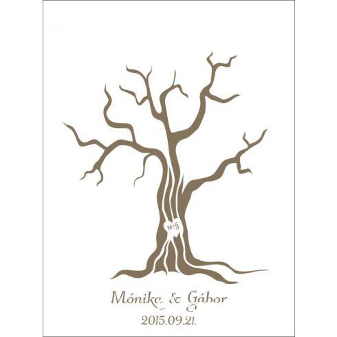 Fába vésett szív esküvői vendégkönyv, ujjlenyomatfa