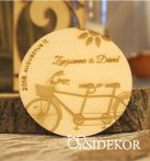 Köszönetajándék fából - poháralátét tandem bicikli