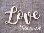 Love felirat fából