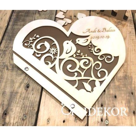 Esküvői vendégkönyv áttört mintával és gravírozott felirattal