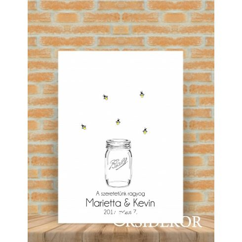 Ujjlenyomat fa mézes - esküvői vendégkönyv
