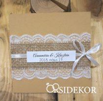 Esküvői meghívó szalaggal és csipkével