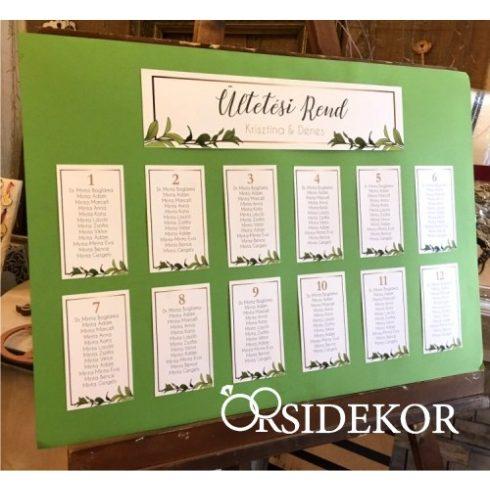 Esküvői ültetési rend virágos grafikával díszítve