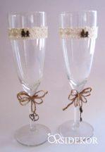 Esküvői pezsgőspohár, vintage