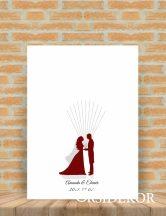 Ujjlenyomat fa -esküvői vendégkönyv