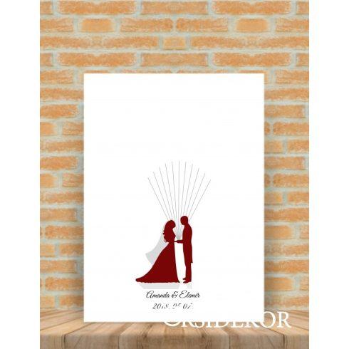 Ujjlenyomat fa vőlegény, menyasszony - esküvői vendégkönyv