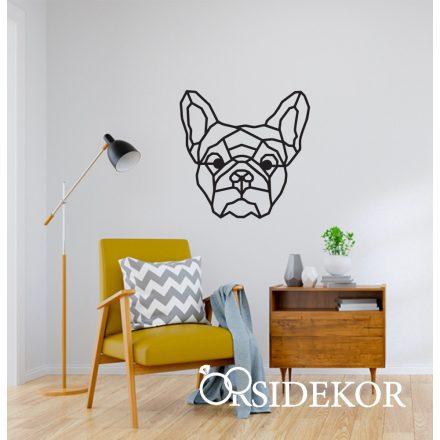 Geometrikus francia bulldog kutya falikép fából
