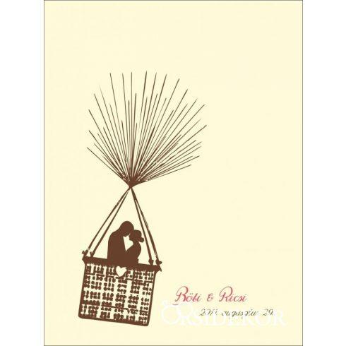 Hőlégballonos esküvői vendégkönyv, ujjlenyomatfa