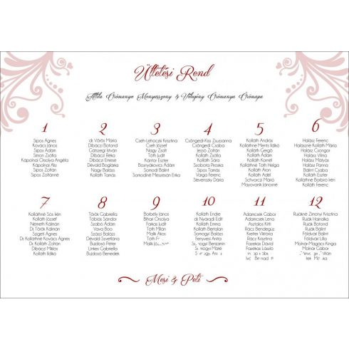 Esküvői ültetési rend - tervezési díj nélkül