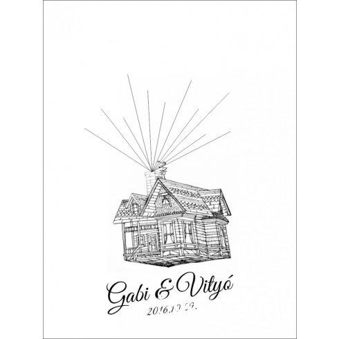 Repülő ház ujjlenyomatfa - esküvői vendégkönyv