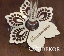 Pohárra tehető csipkés virágos  ültetőkártya