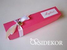 Dobozos esküvői meghívó masnival és szívvel, 3x16 cm
