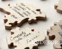 Esküvői vendégkönyv, fa puzzle, 100 db-os, torta