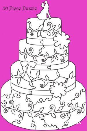 Esküvői vendégkönyv, fa puzzle, torta, 50 db