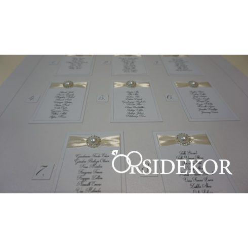 Esküvői ültetési rend szalaggal díszítve