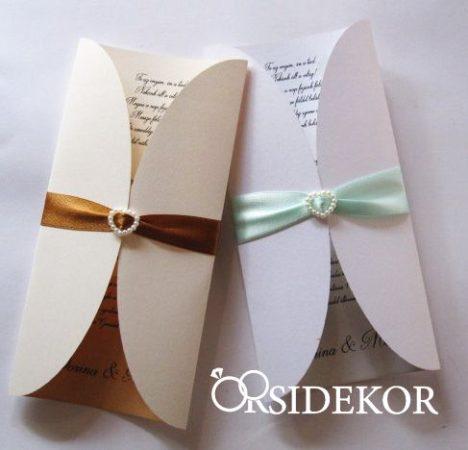 Kihajtható esküvői meghívó szalaggal és gyönggyel