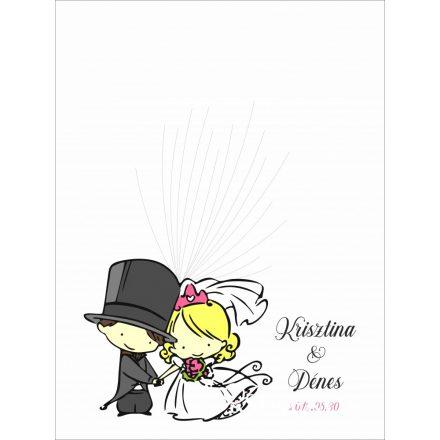 Férj-feleség esküvői vendégkönyv, ujjlenyomatfa