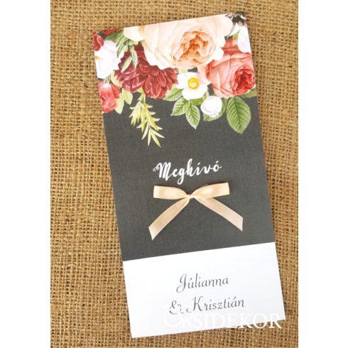 Egylapos virágmintás esküvői meghívó
