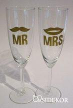 Esküvői pezsgőspohár, arany, Mrs&Mr