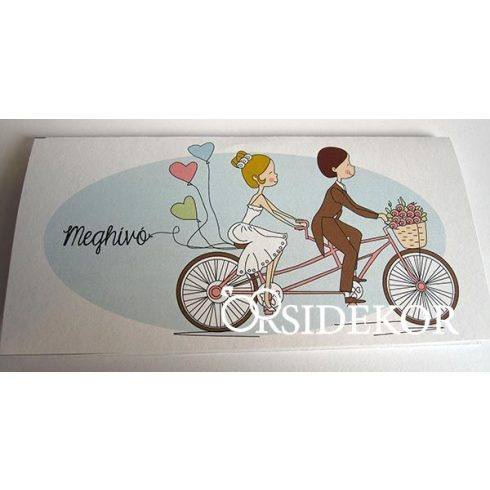 Esküvői meghívó biciklis vőlegény-menyasszony mintával
