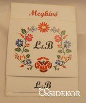 Egylapos esküvői meghívó monogrammal