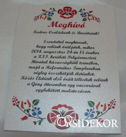 Egylapos esküvői meghívó magyaros mintával