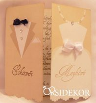 Esküvői meghívó vőlegény-menyasszony mintával, masnival és strasszal díszítve