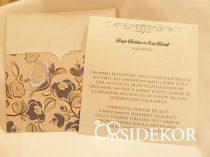 Egylapos esküvői meghívó mintás borítékban