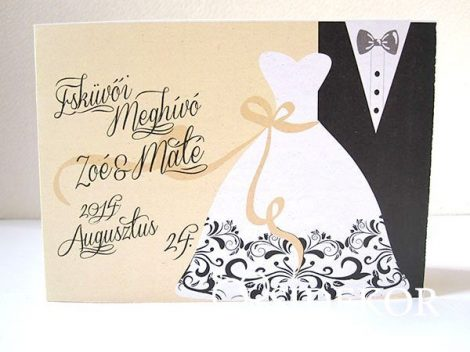 Esküvői meghívó vőlegény-menyasszony mintával díszítve
