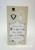Esküvői meghívó vőlegény-menyasszony mintával