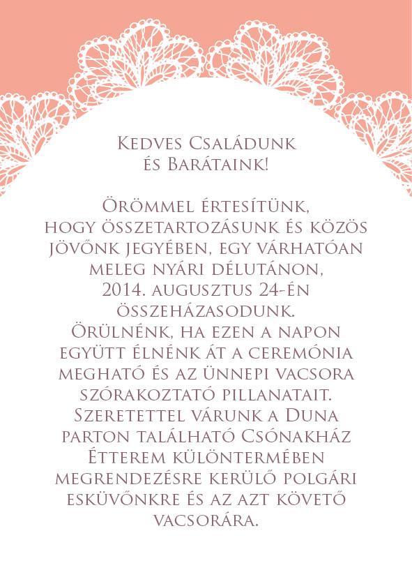 4 minta - borítékos esküvői meghívó