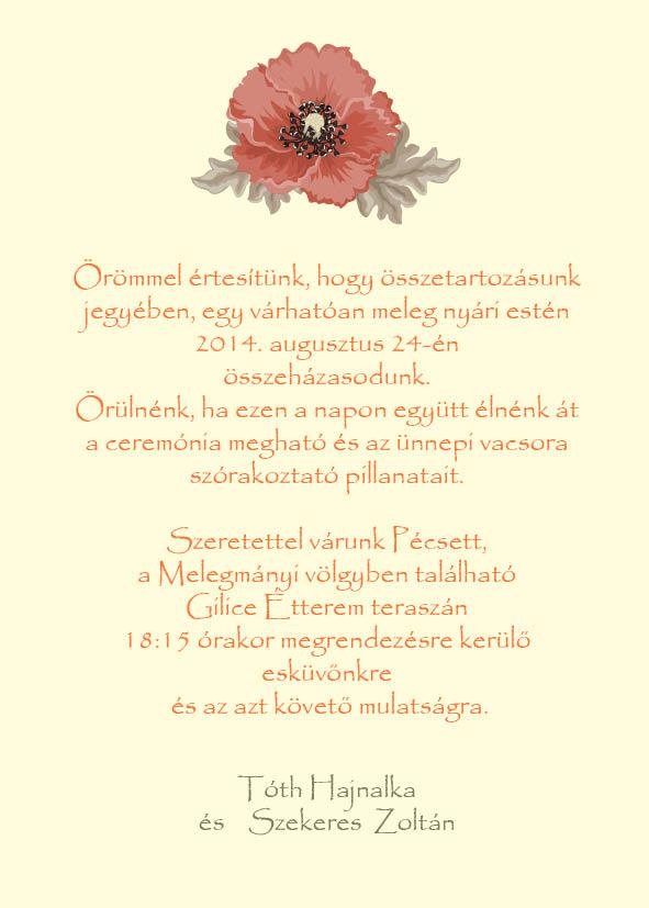 11 minta - borítékos esküvői meghívó