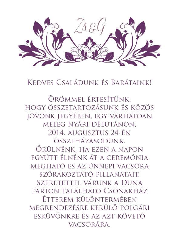15 minta - borítékos esküvői meghívó