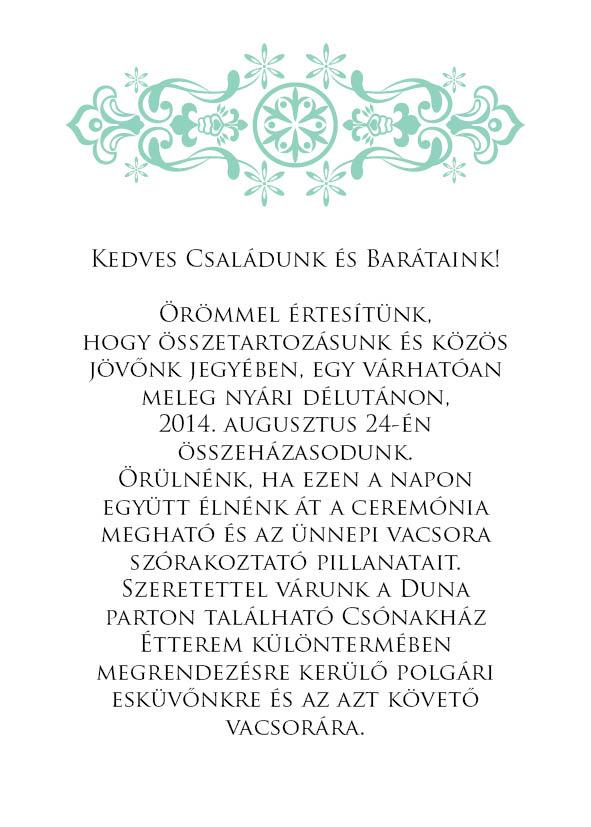 16 minta - borítékos esküvői meghívó