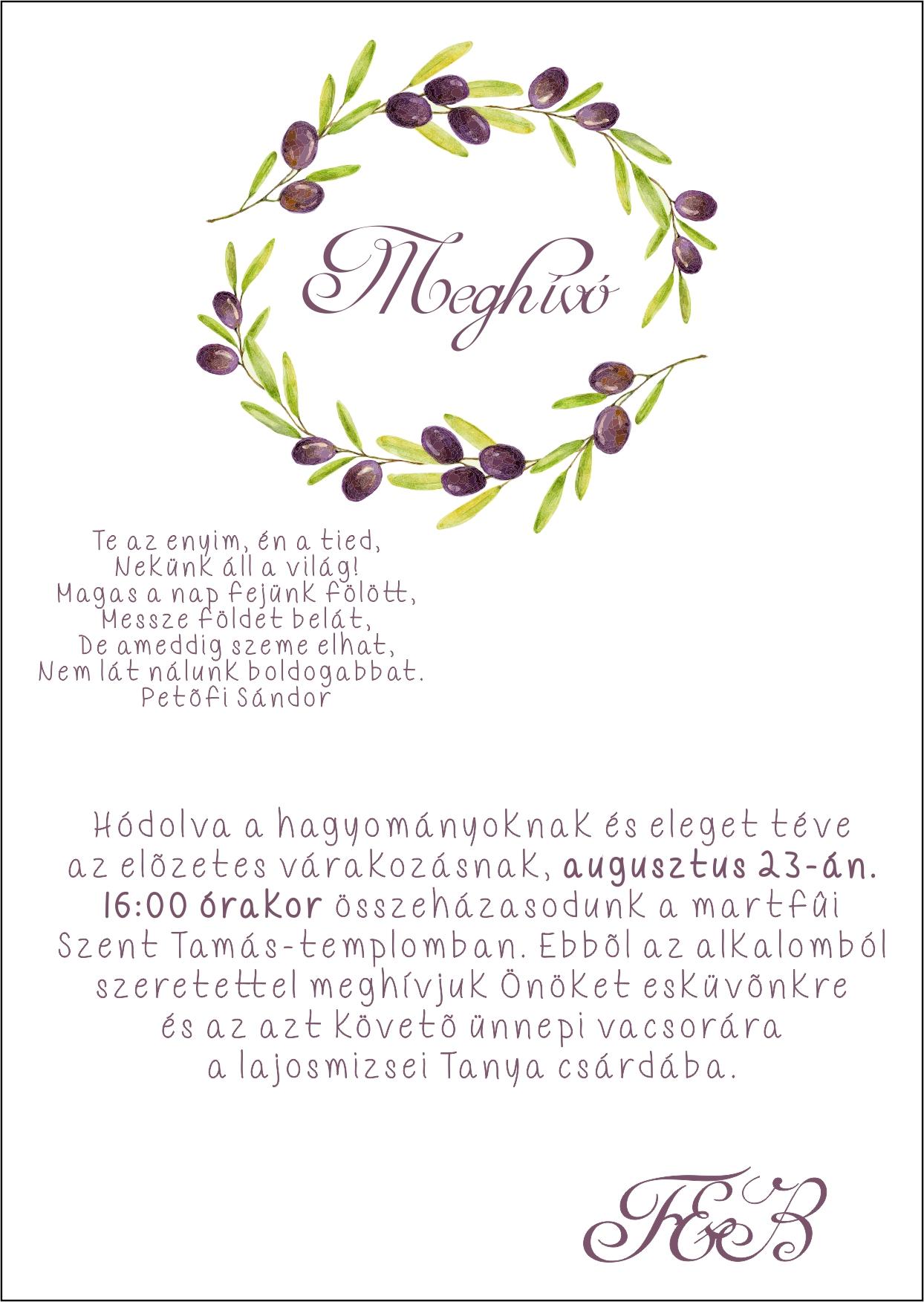 136 minta - tekercses esküvői meghívó