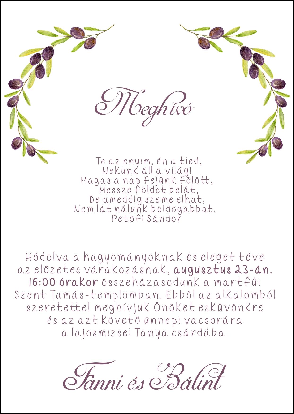 143  minta - tekercses esküvői meghívó
